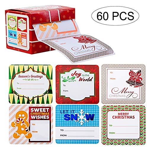 JOYIN 60 Pieces Jumbo Christmas Holiday Gift Tag Stickers Self Adhesive Labels for Christmas Holiday Present Labels Wrapping Paper Gift Box