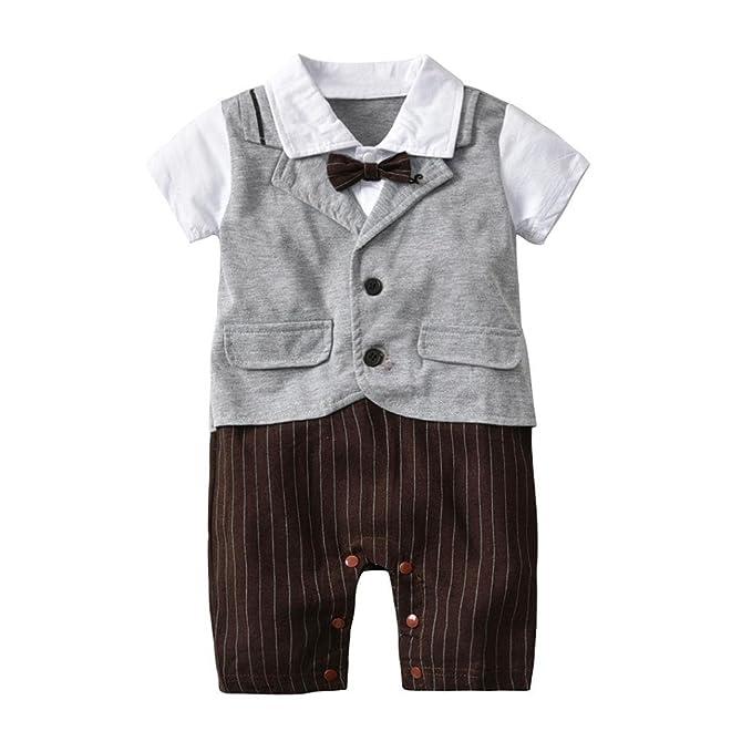 QinMM Mono de Caballero a Rayas del Bebé, Body Peleles Camisa de Manga Corta: Amazon.es: Ropa y accesorios