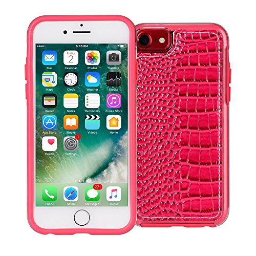iPhone 7 Leather Case, AMMON Slim Crocodile Phone Case Premium PU Leather Hard Back Case for Girl for Apple iPhone 7 6s 6 (4.7) Pink