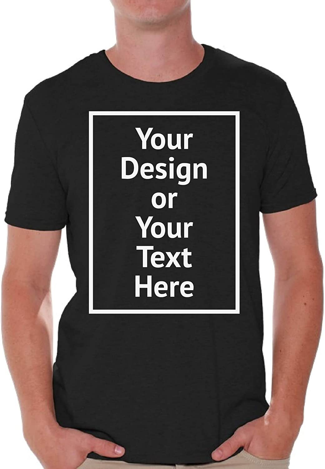 Custom Shirt Men Personalized Add Your Image T-Shirt Add Your Text Photo Front Print ONLY