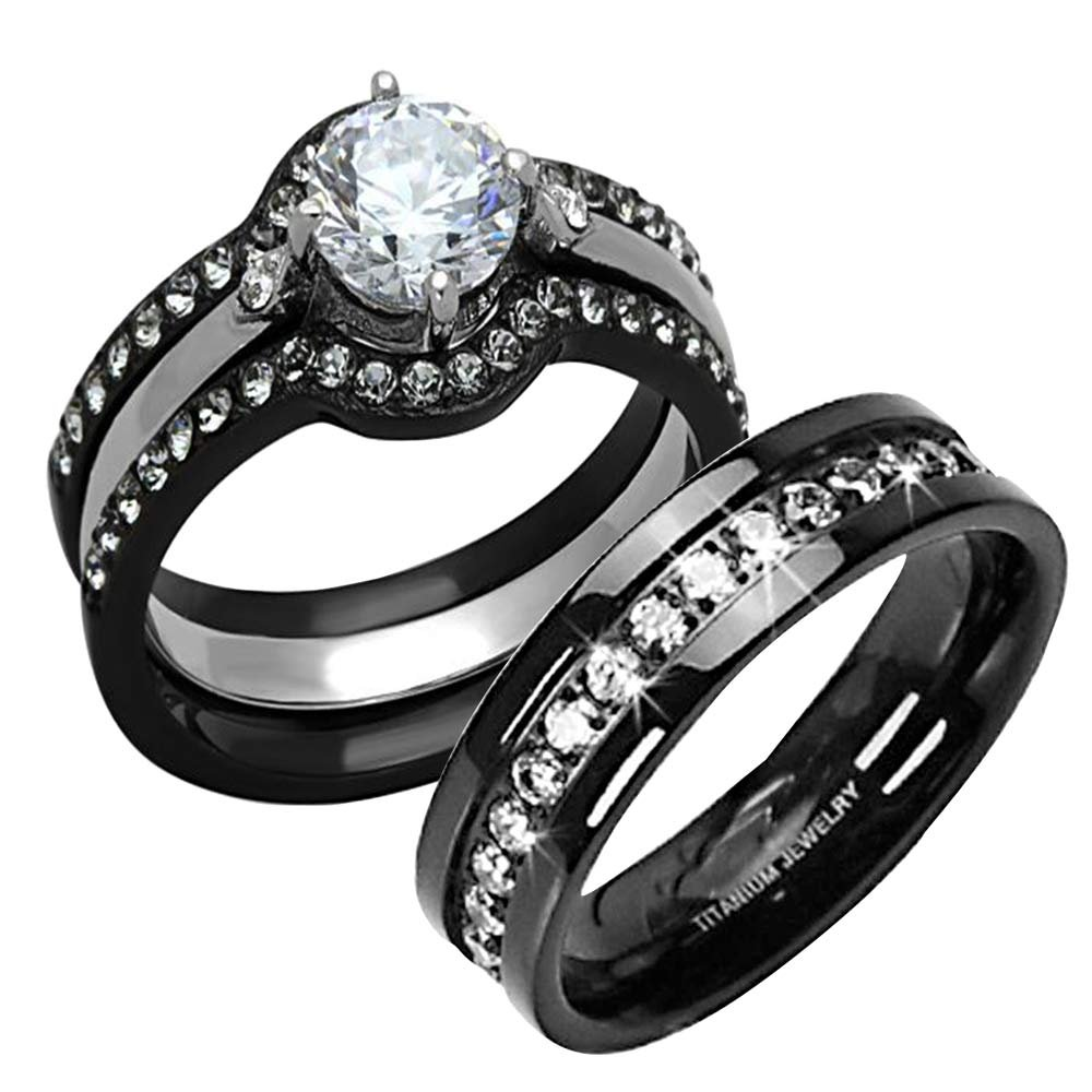 FlameReflection Titanium Stainless Steel Black His and Hers Wedding Ring Sets CZ ca Spj Women Sz-9 & Men Sz-10