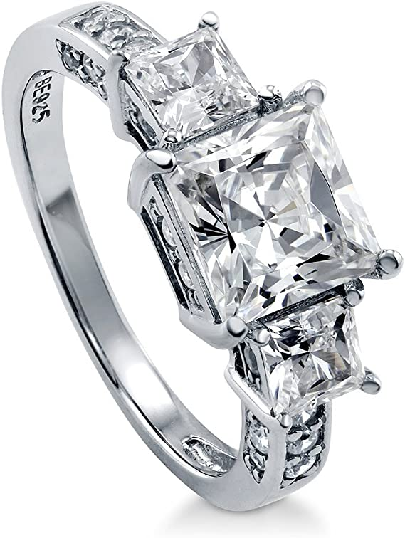 BERRICLE Rhodium Plated Sterling Silver Princess Cut Cubic Zirconia CZ 3-Stone Anniversary Engagement Ring 3.13 CTW