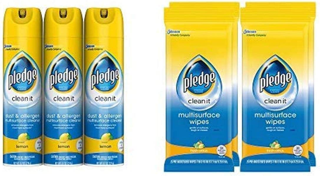 Pledge Multi-Surface Cleaner Set, 2 ct: Dust & Allergen Multi-Surface Cleaner, Lemon, Pack of 3 (9.7 fl oz), Multi-Surface Wipes, Fresh Citrus, Pack of 4 (25 ct)