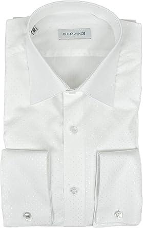 Philo Vance Elegante Camisa de Hombre Ceremonia Blanco de Lunares en Blanco Acerra