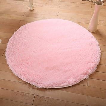 Amazon.com: DODOING Pink Girls Room Rug Shaggy Rugs Round Yoga Mat ...