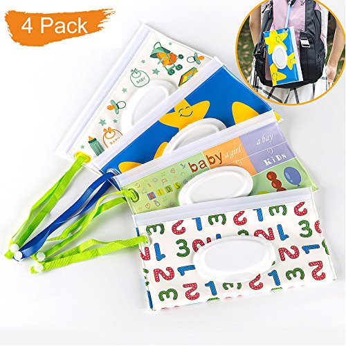 Salare 4PCS Travel Wipes Case Premium Baby Wet Wipe Pouch Eco-Friendly Wipe Dispenser for Baby, Great for Travel Or Picnic ()