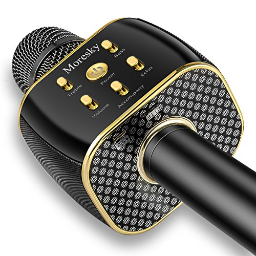 Moresky Karaoke Microphone Wireless Handheld Mic Bluetooth Speaker for  Apple iPhone Android Samsung Smartphone iPad PC Smart TV Home KTV Outdoor  Party