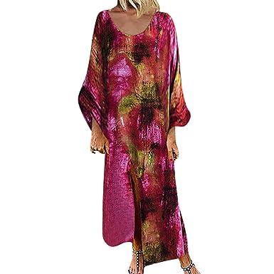 Quartly Vestido de Manga Larga Estilo Bohemio Vintage teñido con ...