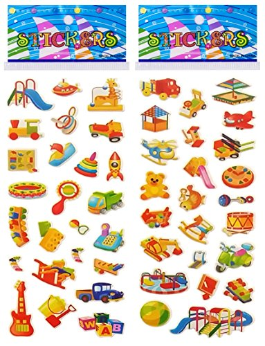 6 Sheets Puffy Dimensional Scrapbooking Party Favor Stickers + 18 FREE Scratch and Sniff Stickers - PLAYGROUND, (Discount Scrapbook Stickers)