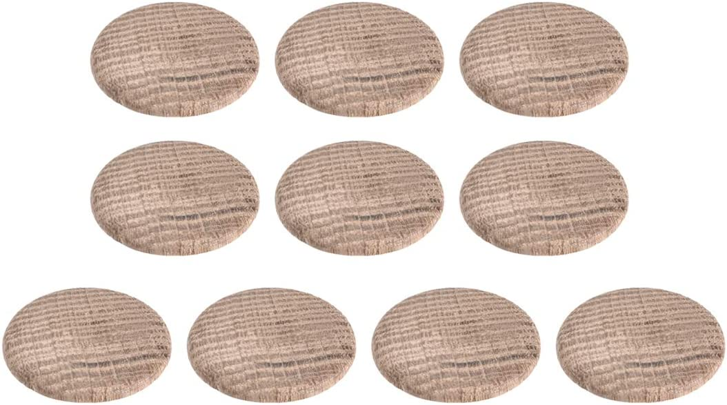 uxcell Wood Button Plugs 1 Inch Oak Hardwood Screw Hole Furniture Plugs 10 Pack