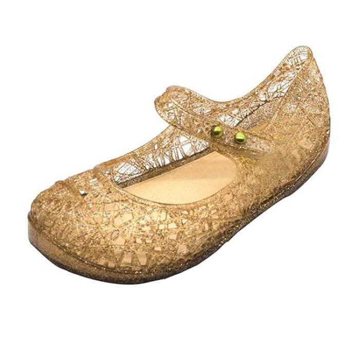 SamMoSon Zapatos Bebe niña niño Primeros Pasos con Suela Bautizo Lindos niños pequeños Bebés Jelly Sandalias Huecas Zapatos Planos Zapatos de Princesa: ...