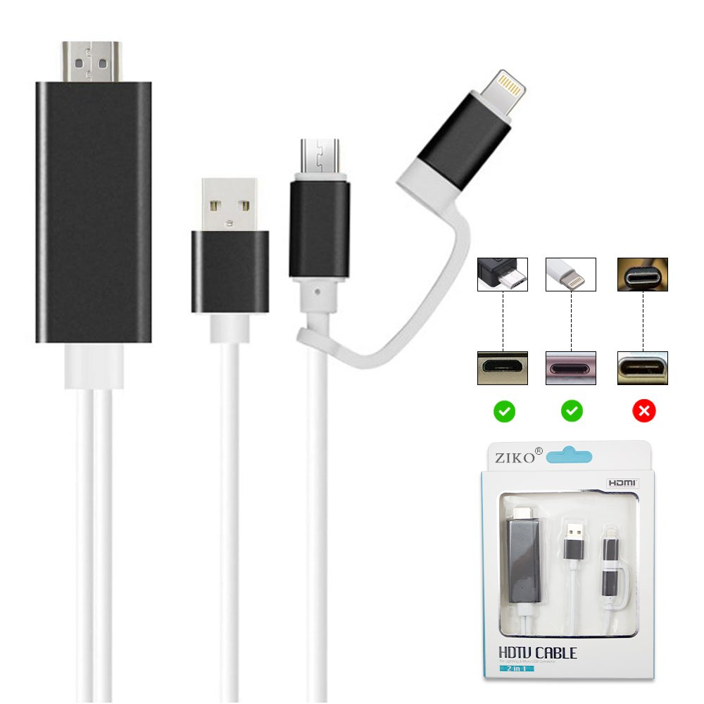 HDMI Adapter for iPhone/Android, ZIKO 2m/6.5ft Lighting to HDMI Adaptor Micro USB to HDMI Cellphone Screen to TV/Projector/Monitor Adapter Cable 1080p High Definition for IOS and Android devices