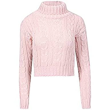 9f4683679e55 Friendz Trendz-Womens High Turtle Polo Neck Chunky Cable Knitted Crop Jumper  (Baby Pink