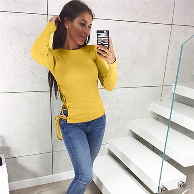 Luckycat Moda Mujer sólido Manga Larga Camiseta O-Cuello Ahueca hacia Fuera Vendaje Blusa Tops: Amazon.es: Ropa y accesorios