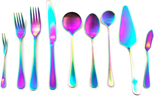 2 //5pc Stainless steel Fruit Fork Dessert Cutlery Cake Forks Rainbow Dinnerware