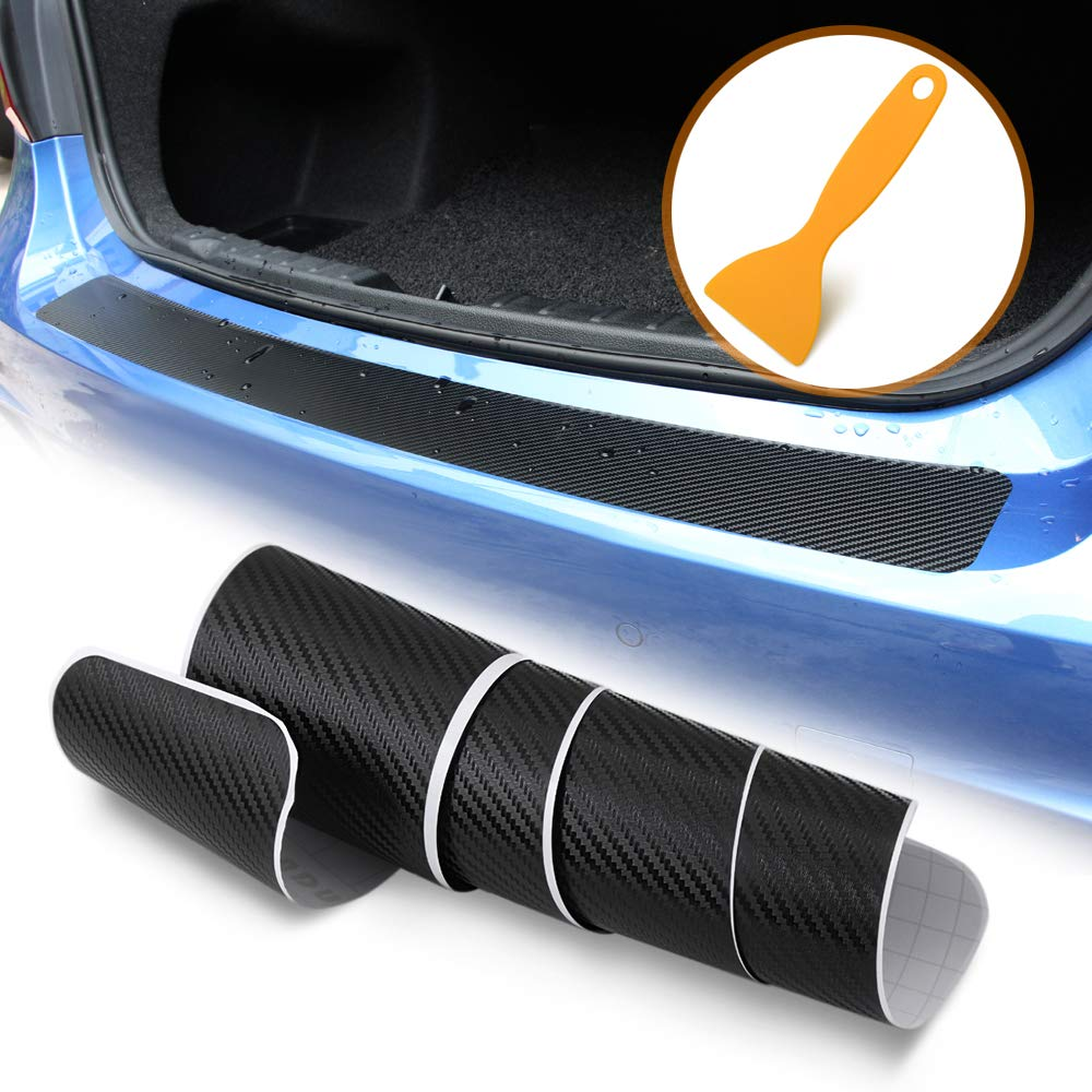 Amazon com thie2e universal carbon fiber rear bumper sticker trim protector automotive