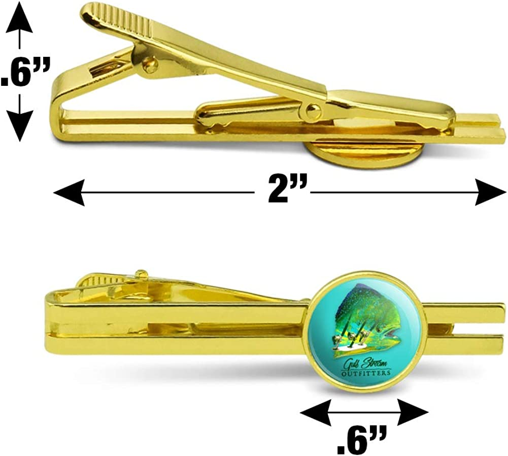GRAPHICS /& MORE Gulf Stream Outfitters Mahi Mahi Ocean Fishing Round Tie Bar Clip Clasp Tack Gold Color Plated