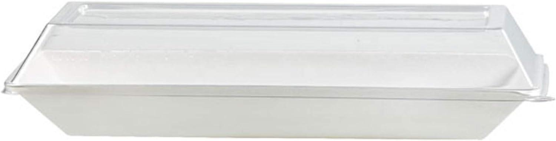 PacknWood Clear Plastic Lid for 10.24 x 5.12 Rectangular Eco-Design Sugarcane Dish Case of 100