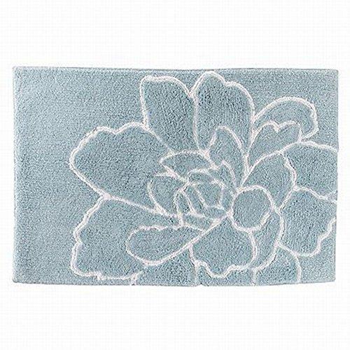 Croft & Barrow Flora Blue Flower Bath Throw Rug Accent 20x30 Plush (Barrow Plush)