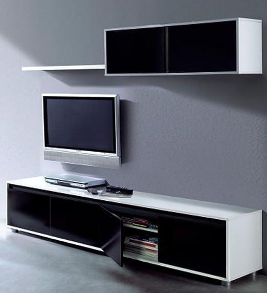 Estar Tv de melamina negra blanco brillante/negro brillante – Dim: L200 x P41 X H43 cm – pegane-: Amazon.es: Hogar