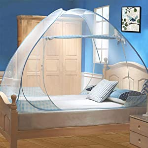 Tinyuet Mosquito Net, 47.2x78.7in Bed Canopy, Portable Travel Mosquito Nets, Foldable Double Door Mosquito Camping Curtain, Easy Dome Mosquito Nets - Blue Rim