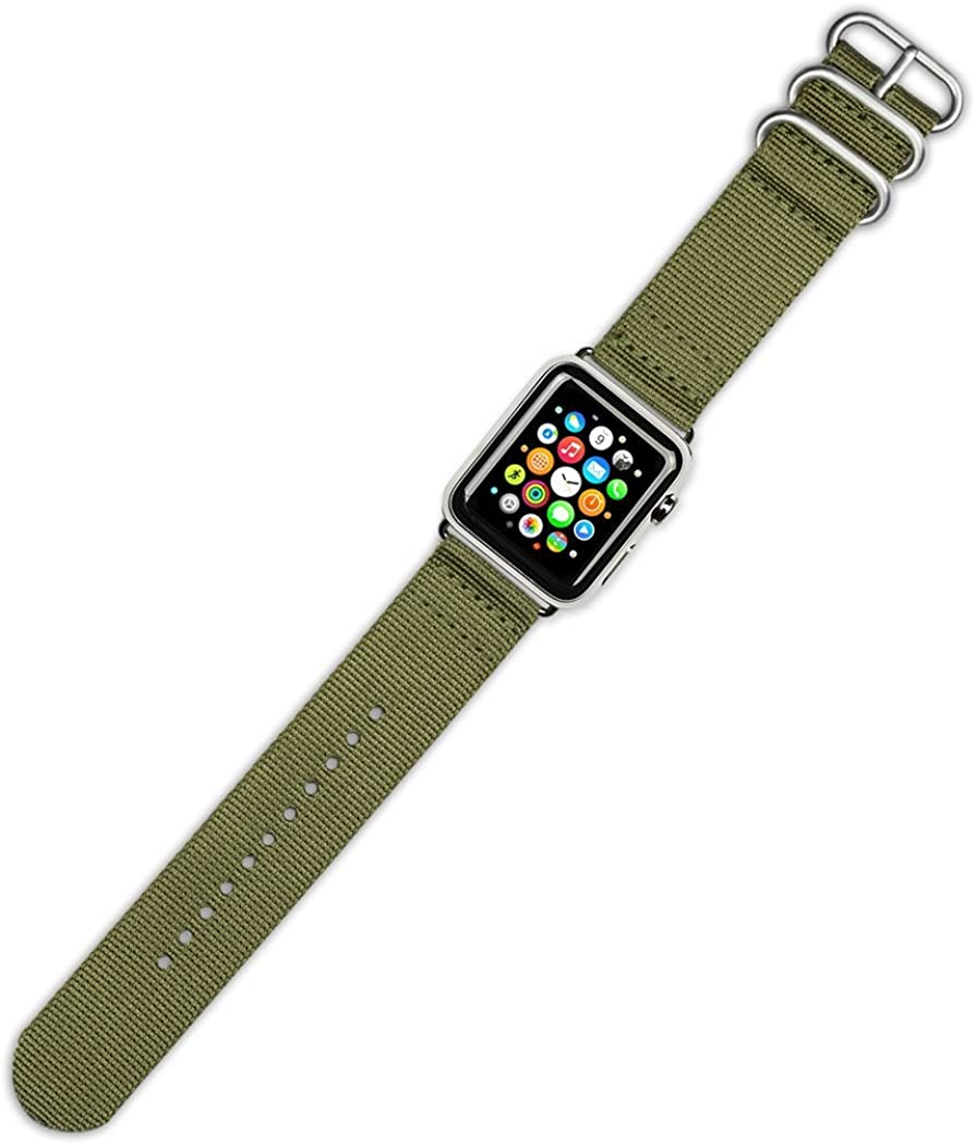 Debeer Watch Band - 2-Piece Nylon - Olive - Compatible with Apple 42mm & 44mm Series 1, 2, 3, 4, 5, and 6 Apple Watch [Silver Adapters]