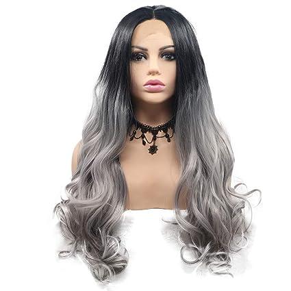 Peluca de pelo de color negro a gris, de 61 cm, 2 tonos,