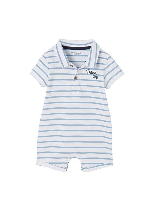 VERTBAUDET Mono de playa con cuello polo para bebé niño Azul medio a rayas 3M-
