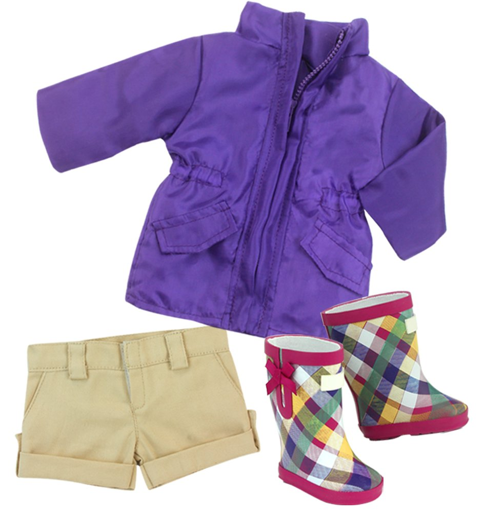 Sophias Purple Doll Parka and Plaid Rain Boots for 18 Doll Sophia/'s