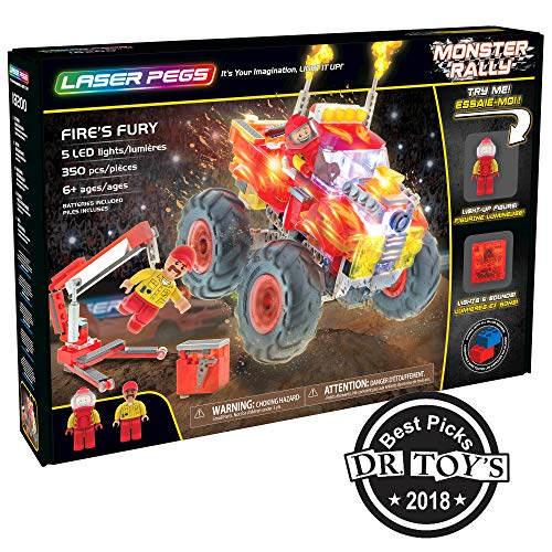 Laser Pegs Fire's Fury Light-Up Building Block Playset (350 Piece) The First Lighted Construction Toy to Ignite Your Child's Creativity; It's Your Imagination, Light It Up -