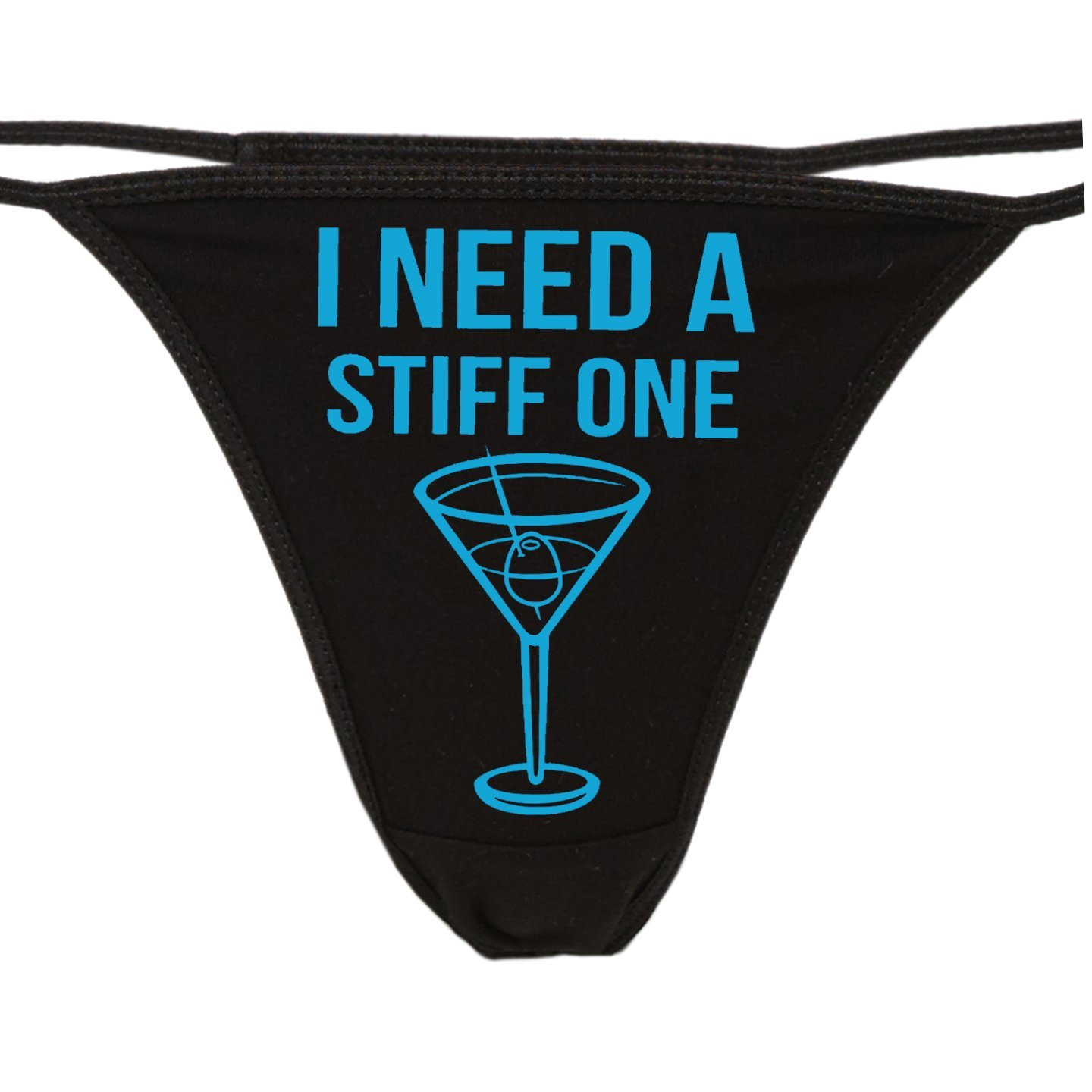 Knaughty Knickers - I Need A Stiff One Black Thong - Fun Flirty Underwear - Panty Game Bachelorette Bridal Lingerie Shower …