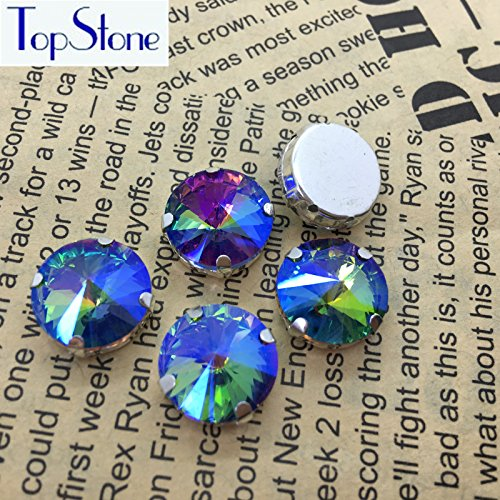 Generic 14mm 35pcs   All Sizes Rainbow AB Color Rivoli Sew on Point Back  Rhinestone in Silver Claw Glass Crystals for Dresses Clothes Decoration   Amazon.in  ... fd8a292ea133
