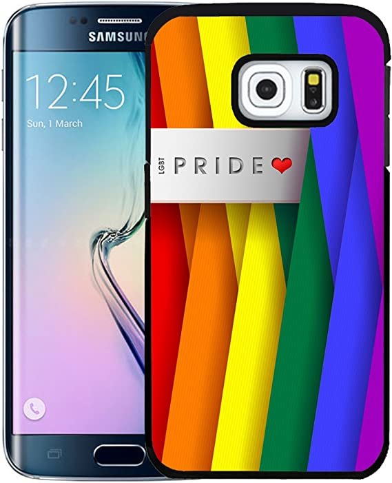 Lgbt Pride Heart Rainbow Color Sideways Stripes Abstract Wallpaper Samsung Galaxy S6 Edge Hard Snap On Plastic Cell Phone Case Cover Amazon Ca Cell Phones Accessories