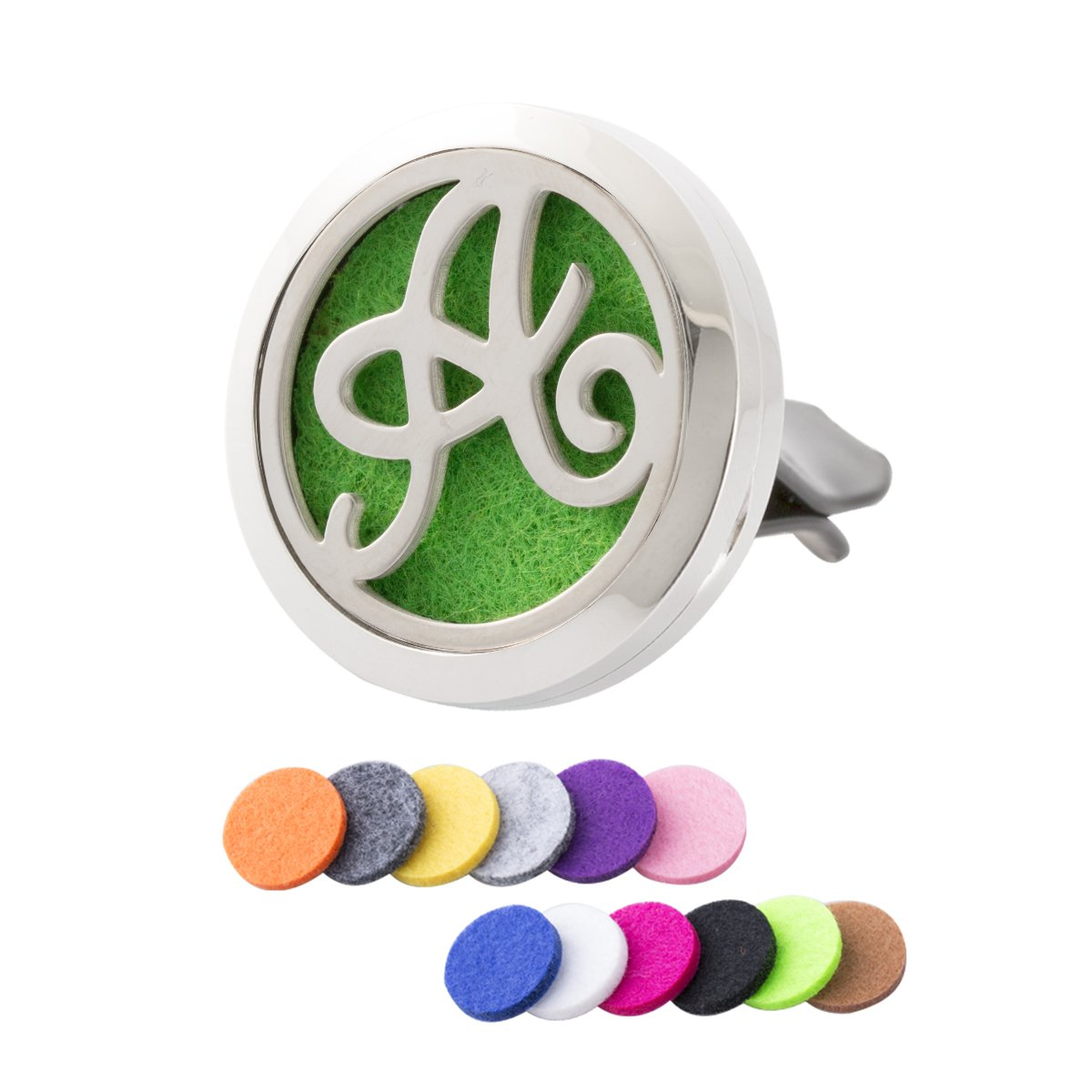 Monogram Initial Essential Oil Diffuser Vent Clip Car Aromatherapy Air Purifier Stainless Steel Magnetic Locket NY NY-315