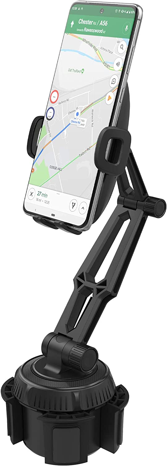 Encased Cup Phone Holder for Car Mount - Adjustable Universal Cellphone Cradle Mount for iPhone 11/Pro Max/Xs Max/XR & Samsung Galaxy S9/S10/S20/Plus/Ultra