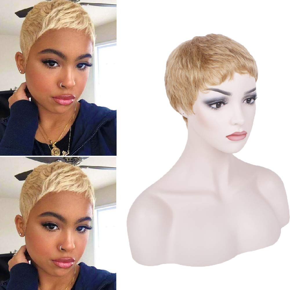 PHOCAS Hairphocas Human Hair Short Pixie Wig Blonde Brazilian Short Cut  Wigs Pixie Cut Short Curly Wigs for Women