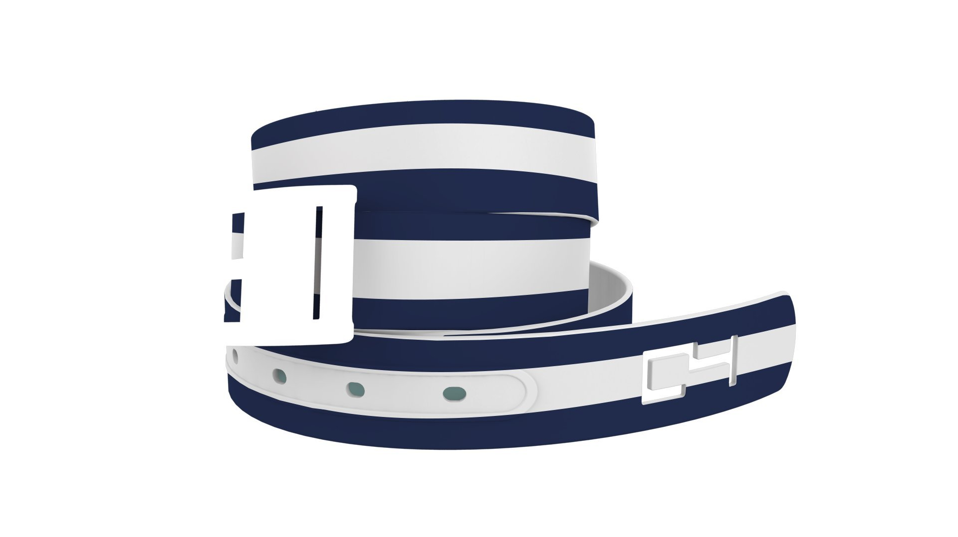 C4 Design Belt: Stripe White/Navy Strap/Navy Buckle - Fashion Belt - Waist Belt for Women and Men by C4 Belts (Image #2)