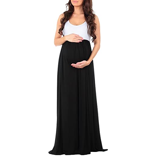678829be5b4 OwlFay Women s Sleeveless Summer Maternity Maxi Dress Formal Casual  Photography Baby Shower Ruched Color Block Evening