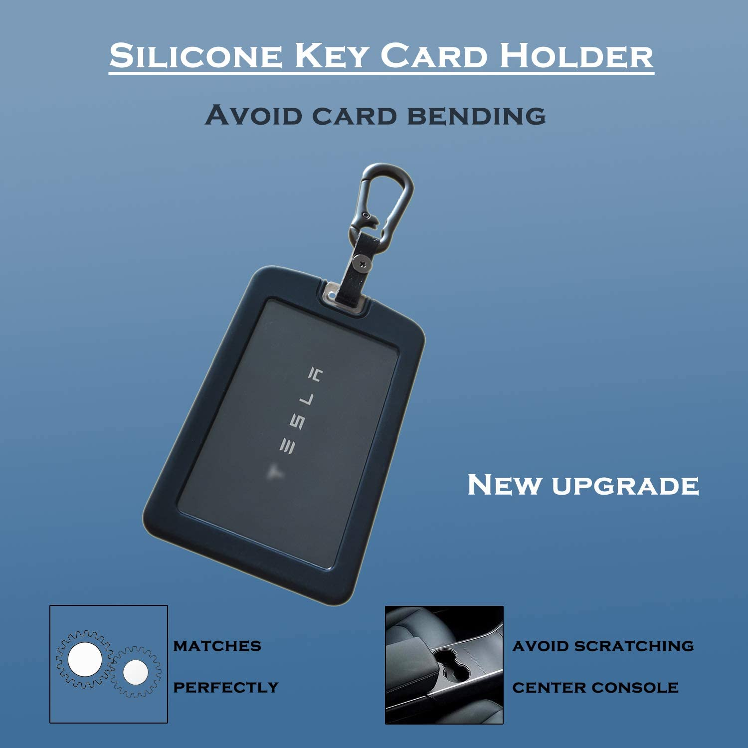 Modified accessories does not affect the start sensor Black T-ZAIH Suitable for Tesla model3 key card cover Non-slip dirt resistant design Silicone card holder with key Rings