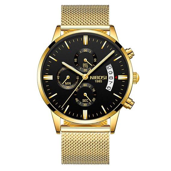 Relojes Pulsera Tres Sub-dials Cronógrafo Calendario Cuarzo Relojes Hombre Correa de Acero Inoxidable Elegante