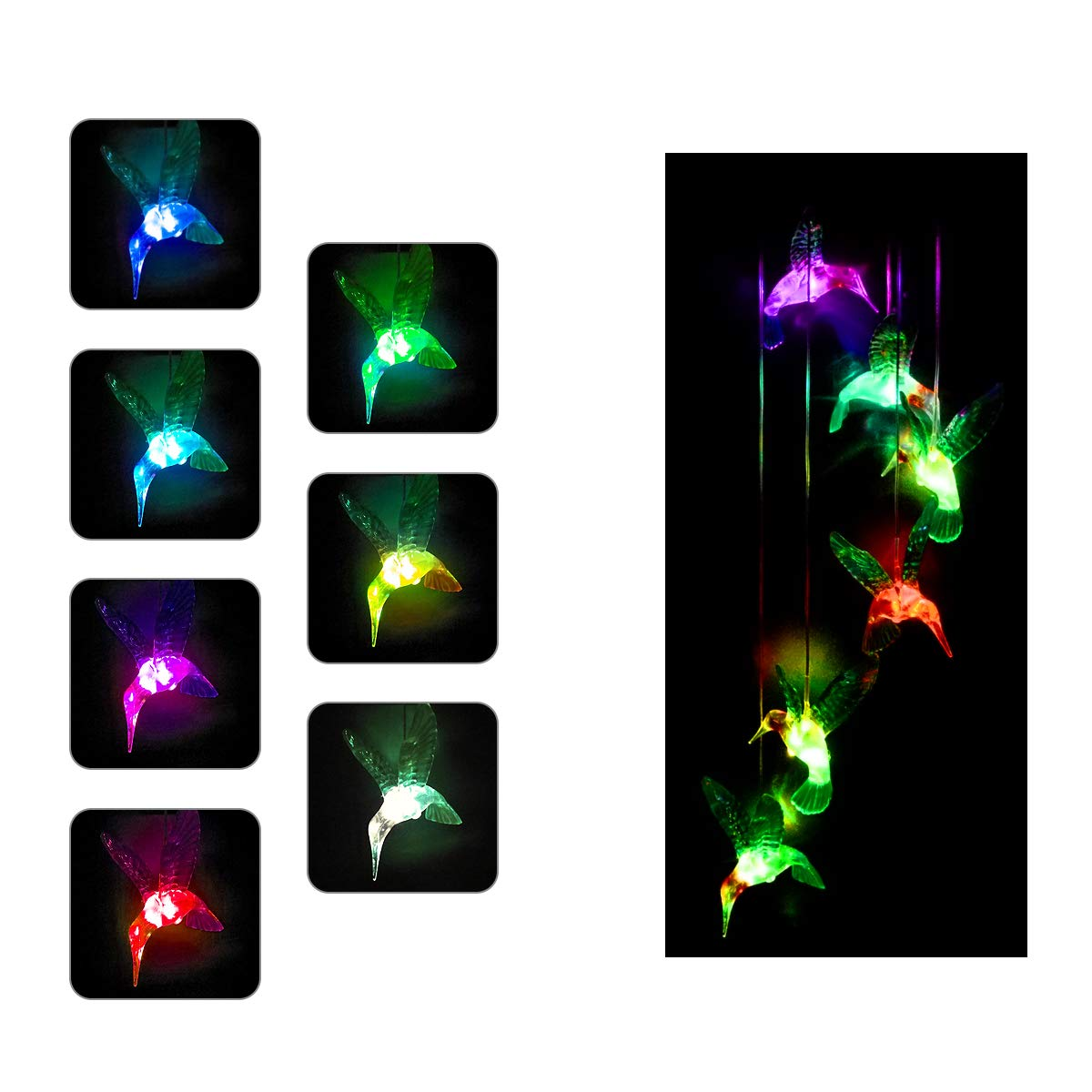 LSHENG Colorful Solar Wind Chimes Outdoor - Color Changing Solar Powered Hummingbird Wind Chimes Indoor Outdoor Led Hanging Lamp Night Lights for for Home,Party,Patio, Night,Yard,Garden,Festival Decor