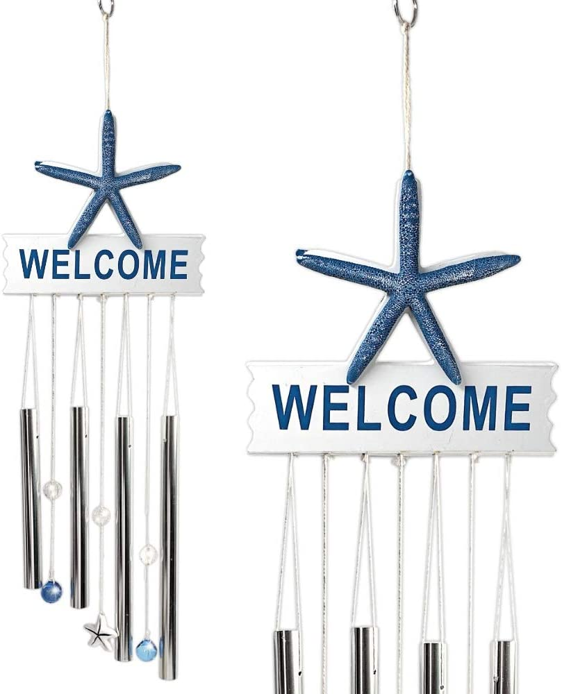 "BANBERRY DESIGNS Starfish Wind Chime Welcome Sign - 26"" Indoor Outdoor Ocean Theme Wind Chimes– Mobile Musical Garden Chimes for Home Decoration – Nautical Driftwood Like Design - Beach Decor"