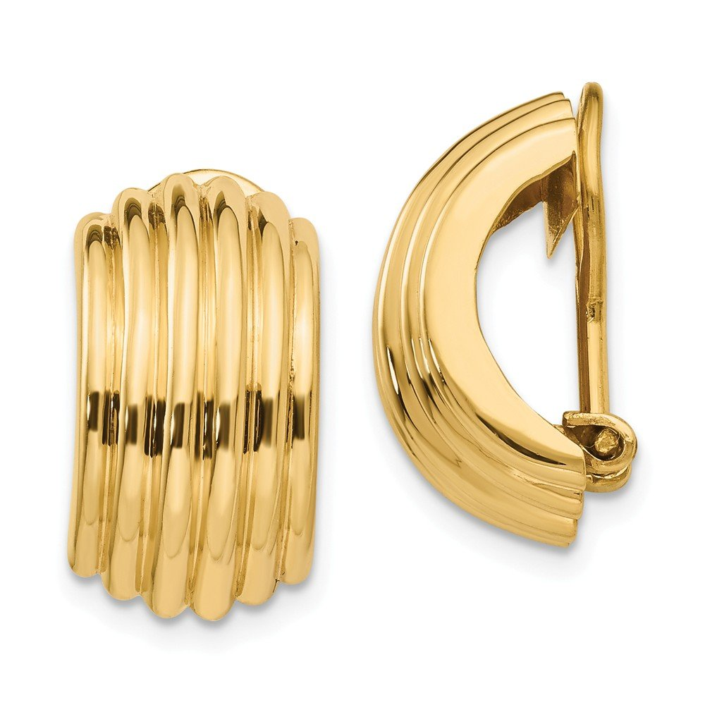 14K Yellow Gold Omega Clip Non-Pierced Earrings (Approximate Measurements 16mm x 9.5mm)