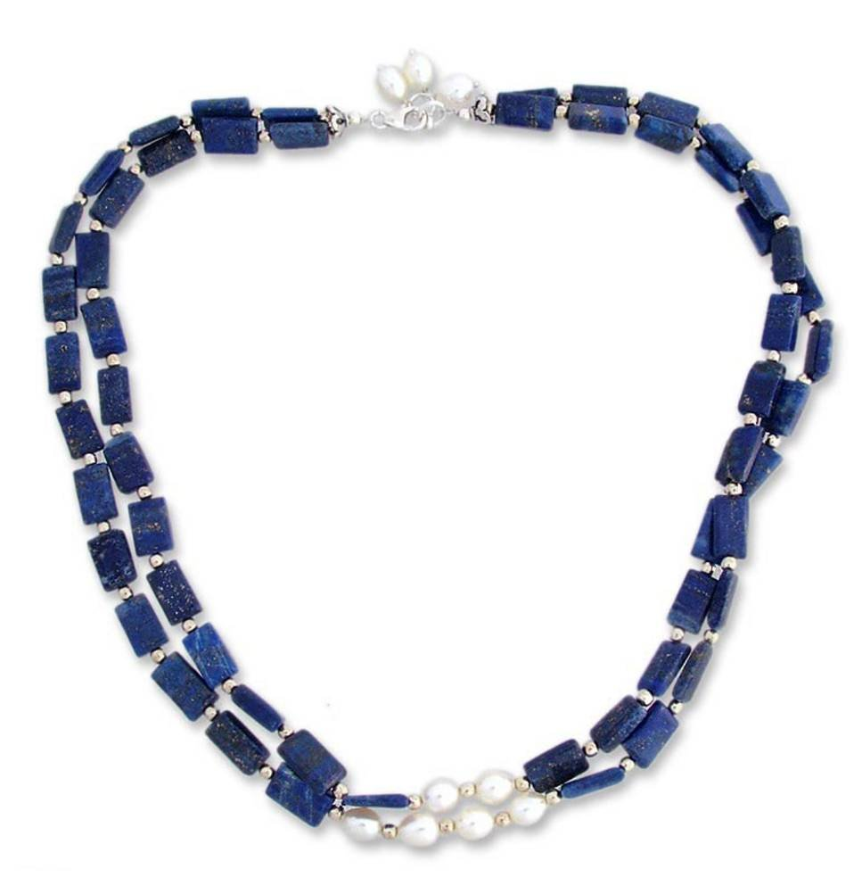 NOVICA Lapis Lazuli Cultured Freshwater Pearl .925 Sterling Silver Beaded Necklace 'Midnight Magic'