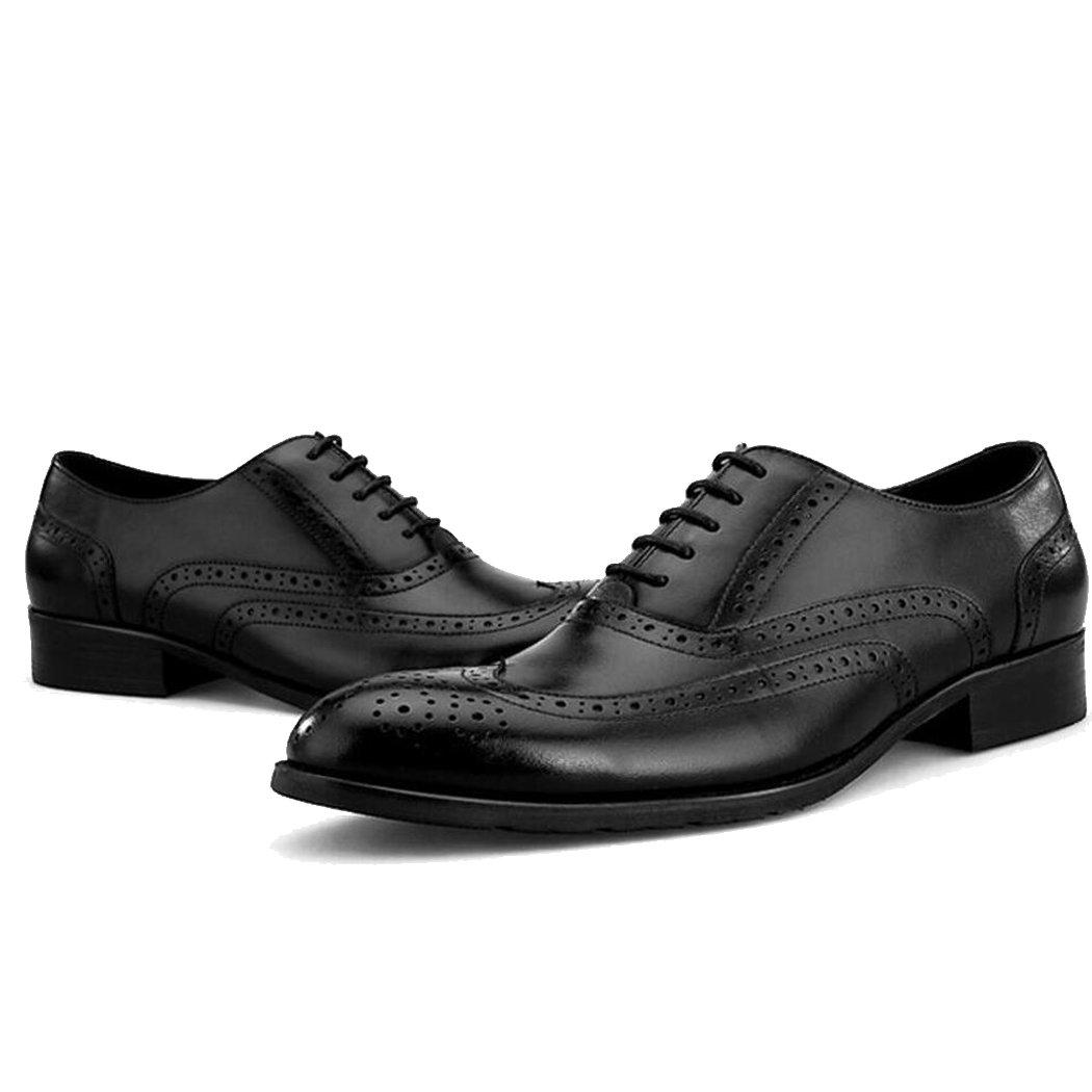JIANFCR Zapatos de hombre de alta calidad - Zapatos de cuero para hombres - Zapatos de cuero tallados retro Brod británicos - Zapatos de hombre de negocios 4 estaciones, Talla 6-11 ( Color : Negro , tamaño : 44 ) 44|Negro