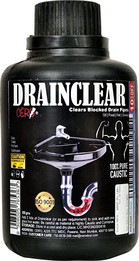 Cero Drainclear (Dry Powder) To Clear Clogged Drains, Sinks And Pipes (200G