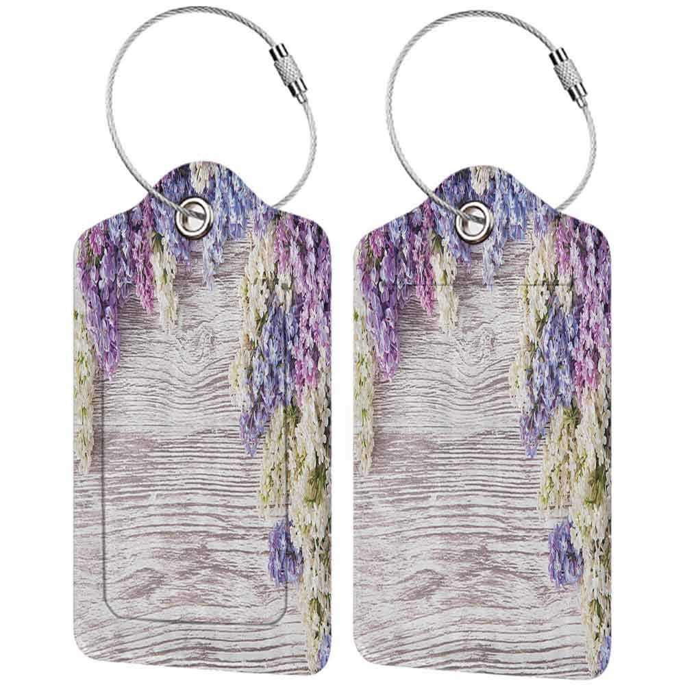 Waterproof luggage tag Rustic Home Decor Lilac Flowers Bouquet on Wood Table Spring Nature Romance Love Theme Soft to the touch Lilac Violet Dark Taupe W2.7 x L4.6