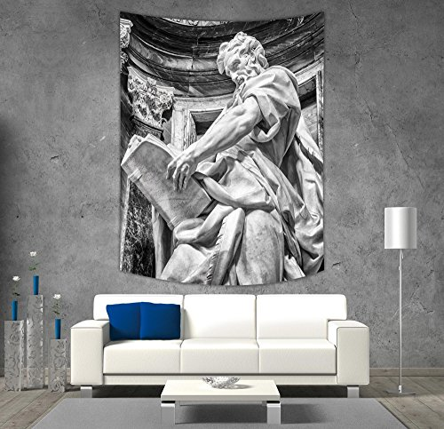 (Polyester Tapestry Wall Hanging,Sculptures Decor,Statue of St. Matthew at the Basilica of St. John Lateran in Rome Cthedra with Pillars,Bronze,Wall Decor for Bedroom Living Room Dorm)