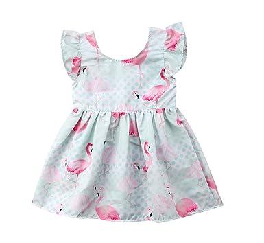 12a9913c5819 Little Kids Toddler Baby Girls Summer Ruffle Dress Flamingo Print  Sleeveless Floral Princess Party Pageant Summer