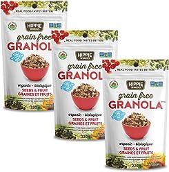 Hippie Snacks Gluten Free Organic Granola - Seeds and Fruit, 3 x 220 gram pack